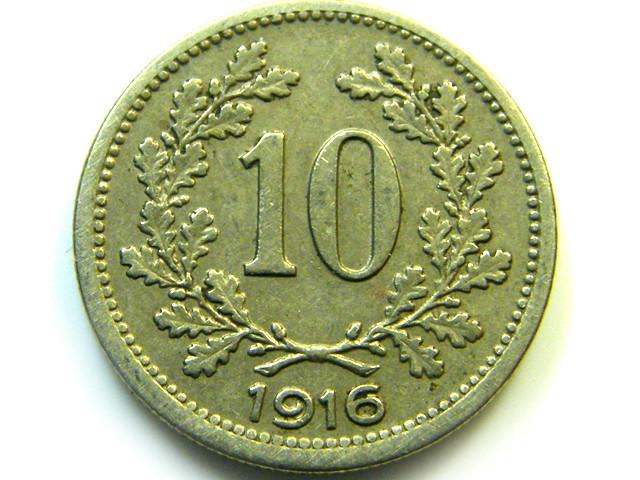 1916 AUSTRIA  10 HELLER  COIN   J571