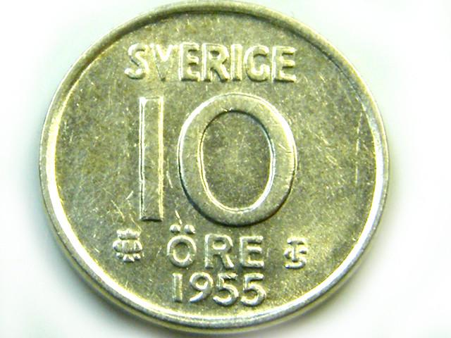 SEDEN 10 ORE 1955   COIN   J574