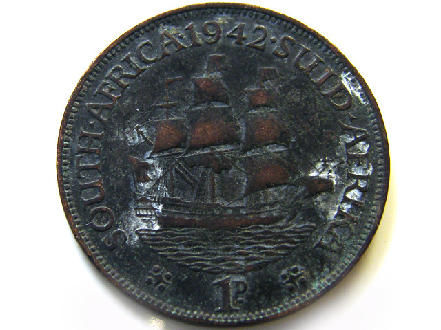 SOUTH AFRICA 1 PENCE COIN   COIN  1942    J 600