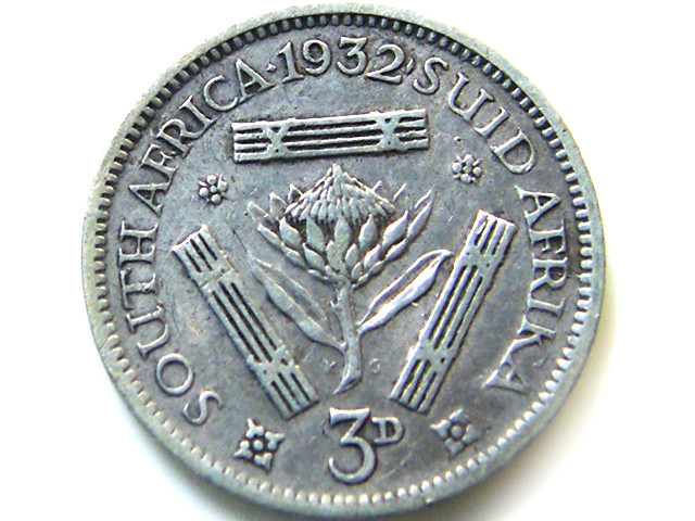 SOUTH AFRICA SILVER 3 PENCE1932  COIN   J 613