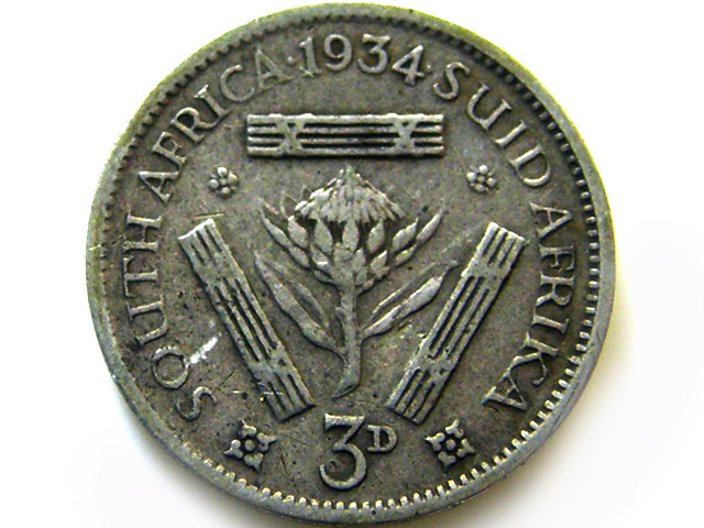 SOUTH AFRICA SILVER 3 PENCE 1934  COIN   J 614
