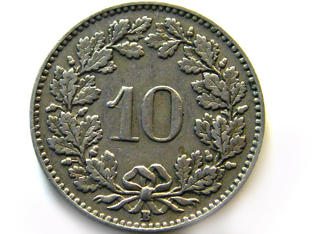 SWISS 10CEMES 1915    COIN   J 858