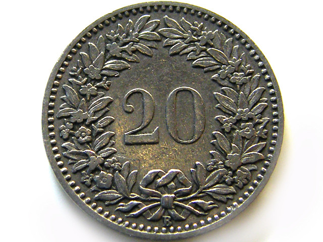 SWISS 20CEMES  1906    COIN   J 633
