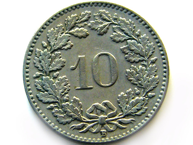 SWISS 10 CEMES   1912   COIN   J 635