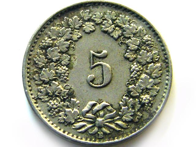 SWISS 5 CEMES  1921  COIN   J 636