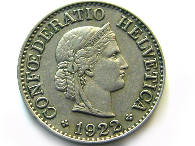 SWISS 5 CEMES   1922   COIN   J 637