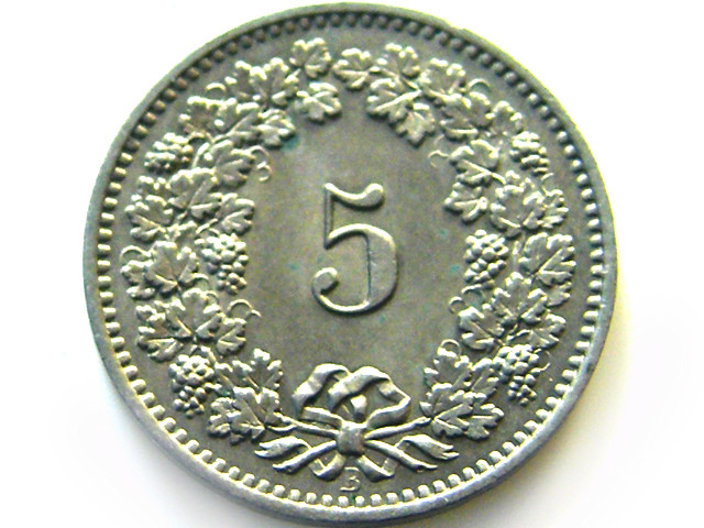 UNC 1885 SWISS 5 CEMES    COIN   J 638