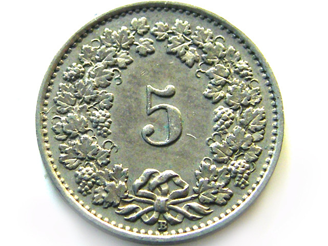 SWISS 5 CEMES  1926    COIN   J 639