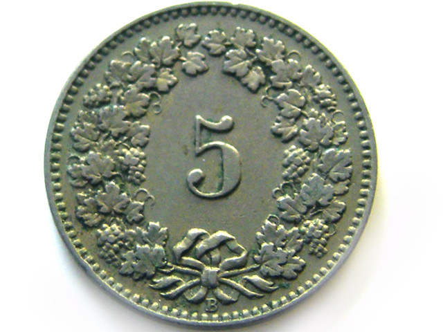SWISS 5 CEMES  1915   COIN   J 646