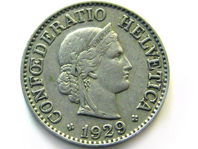 SWISS 10 CEMES   1929  COIN   J 648