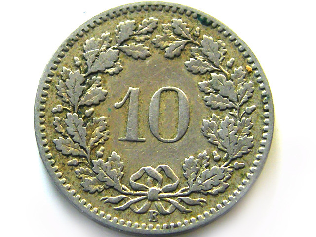 SWISS 10 CEMES 1885    COIN   J 649