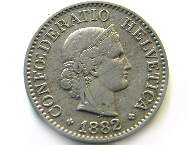 SWISS 10  CEMES   1882 COIN   J 651