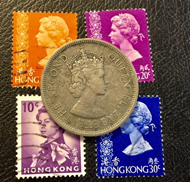 HONG KONG ONE DOLLAR 1973  COIN  PLUS STAMPS J659