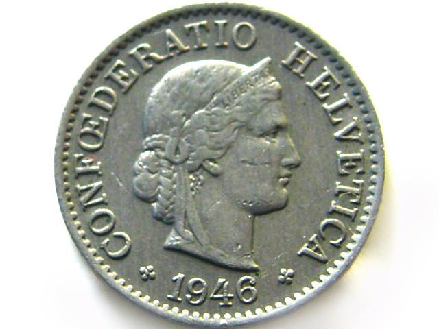 SWISS 5 CEMES  1946  COIN   J 688
