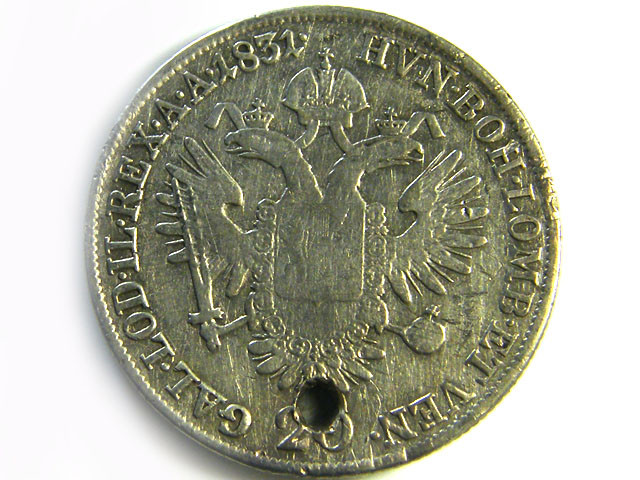 1831AUSTRIA SILVER 20 KREUZER COIN HOLED CO 256