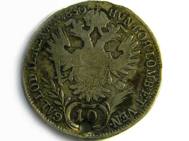 1830 AUSTRIA SILVER 10 KREUZER COIN HOLED CO 261