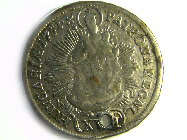 RARE 1752 HUNGRAY PATRONA SILVER  COIN HOLED CO 255
