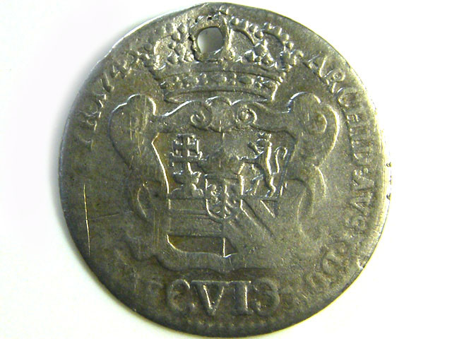 1743? MARY THERESA SILVER  COIN HOLED CO 254