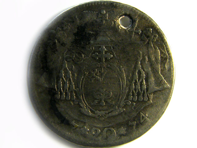 1774 AUSTRIA SILVER 20 KREUZER COIN HOLED CO 270