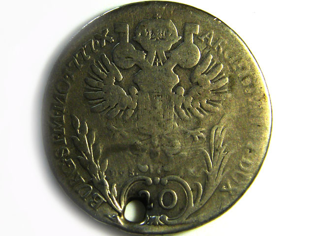 1777  AUSTRIA SILVER 20 KREUZER COIN HOLED CO 271