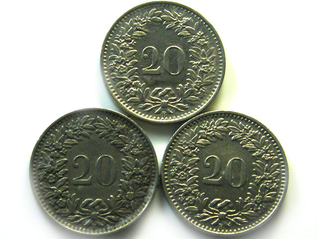 3 SWISS 20 CEMES   1939 - 1962  COIN   J 694