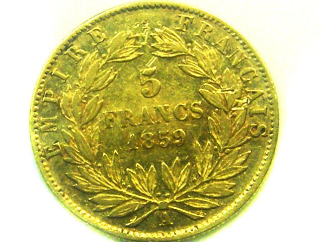 1859 FRANCE 5 FRANCS GOLD COIN    CO323