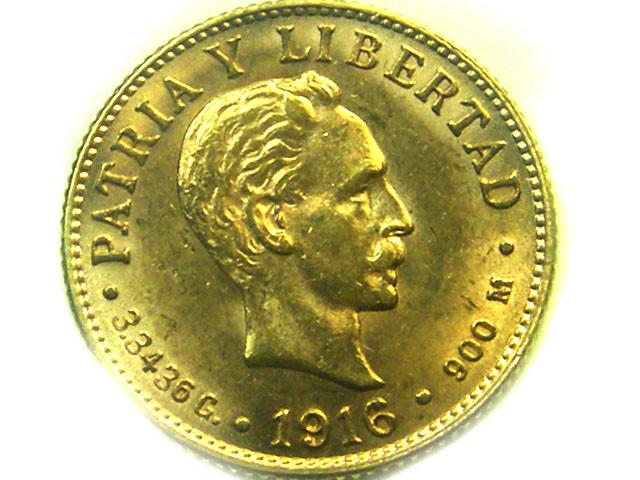 1916 CUBA 2 PESOS GOLD COIN    CO331
