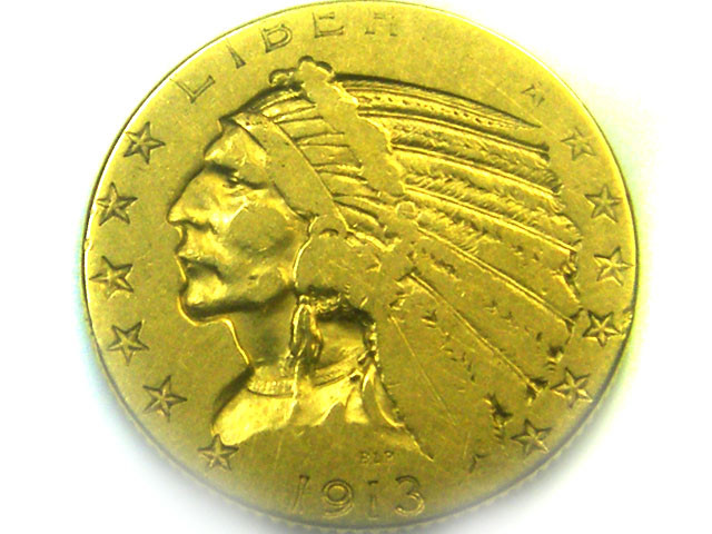 1913 USA FIVE DOLLARS INDIAN HEAD GOLD COIN    CO332