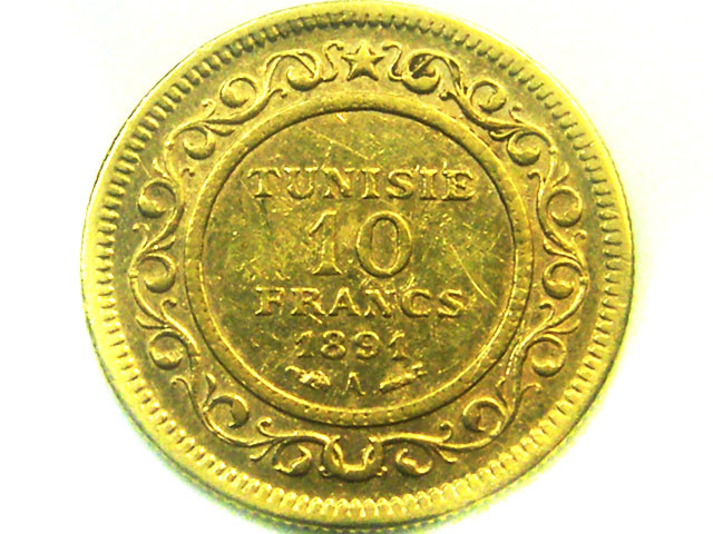 1891 TUNISIA 10 FRANCS GOLD COIN    CO335