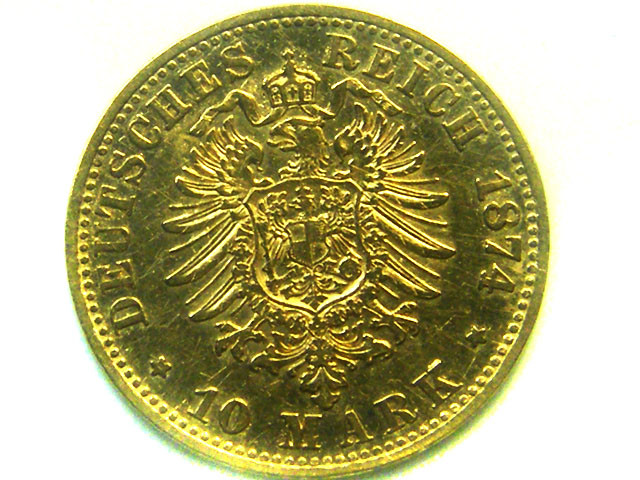 1874 PRUSSIA 10 MARK WILHELM 1 GOLD COIN    CO339
