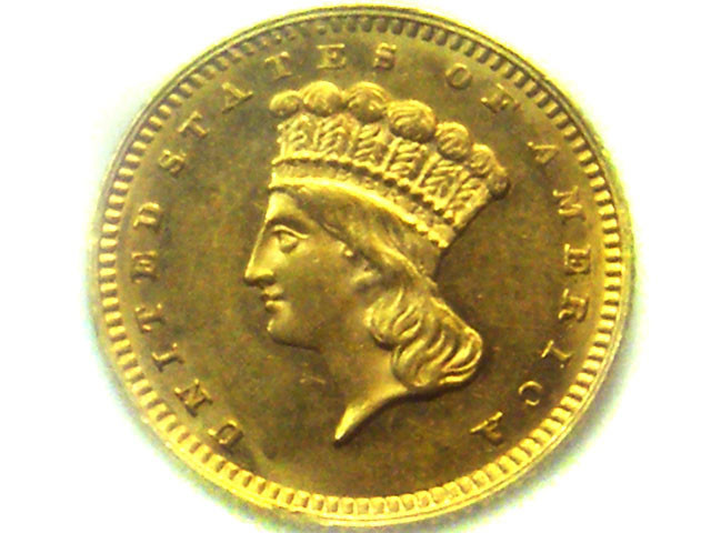 1862 USA LARGE  INDIAN HEAD GOLD $1.00 COIN TYPE 3    CO341