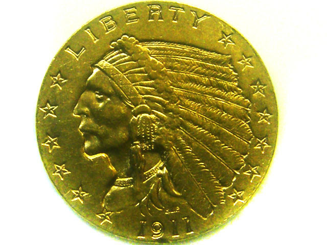 1911 $2.00  UNC  1/2 INDIAN HEAD  GOLD COIN    CO346