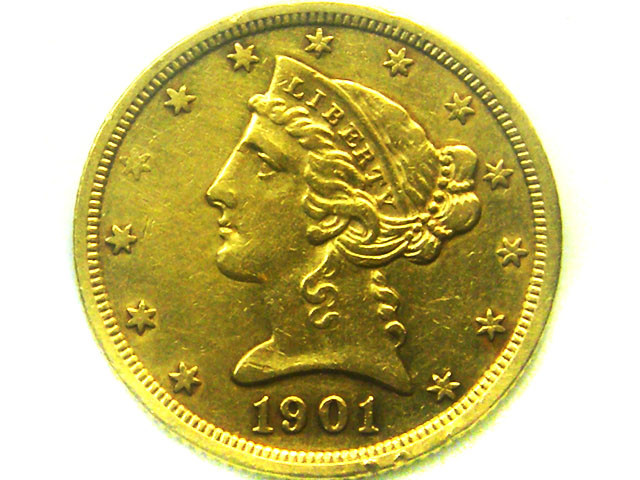 1901 $5.00 LIBERTY HEAD GOLD COIN    CO347