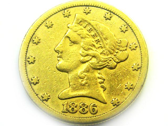 1886 $5.00 LIBERTY HEAD GOLD COIN    CO348