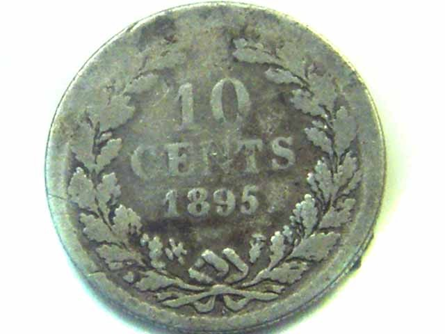 1895 SILVER DUTCH  COIN  10 CENT  WILHELMINA  CO352