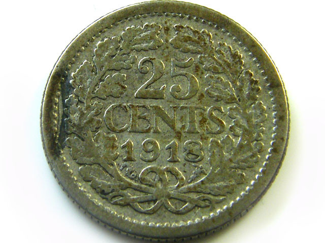 1918 SILVER DUTCH25 CENTS   COIN    CO366