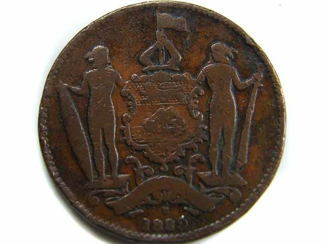 1889 BRITISH NORTH BORNEO CENT COIN CO 438