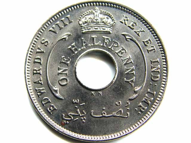 1936 UNC WEST AFRICA HALF PENNY   CO 439