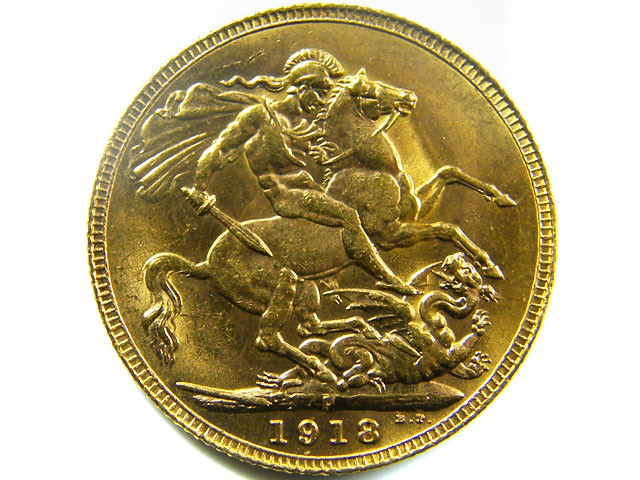 1918 UNCIRCULATED KING GEORGE    SOVERIGN  B.P   CO 466