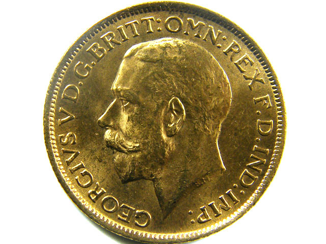 1915 UNCIRCULATED KING GEORGE    SOVERIGN  B.P   CO 467