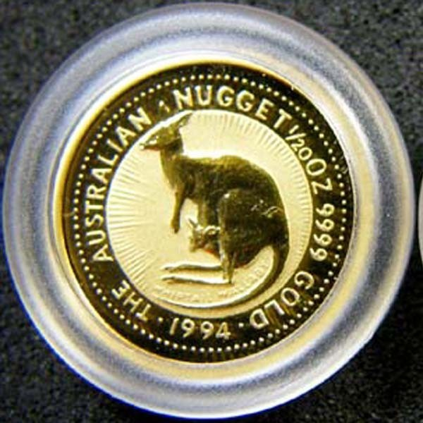 THE AUSTRALIAN NUGGET 1994 1/20 OUNCE 0.9999 PURE GOLD