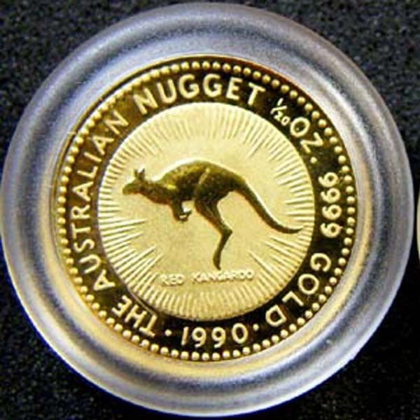 THE AUSTRALIAN NUGGET 1990 1/20 OUNCE 0.9999 PURE GOLD