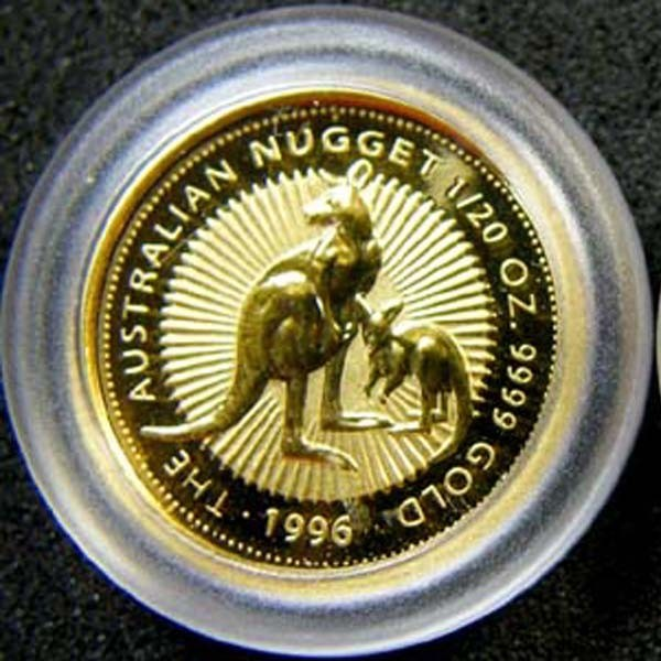 THE AUSTRALIAN NUGGET 1996 1/20 OUNCE 0.9999 PURE GOLD