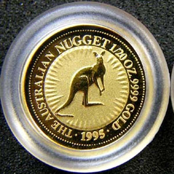 THE AUSTRALIAN NUGGET 1995 1/20 OUNCE 0.9999 PURE GOLD