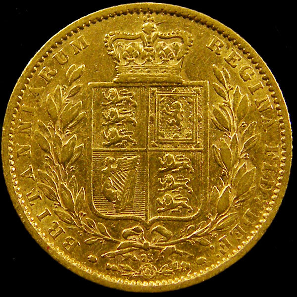 1864 SHIELD GOLD  VICTORIA SOVERIGN CO 605