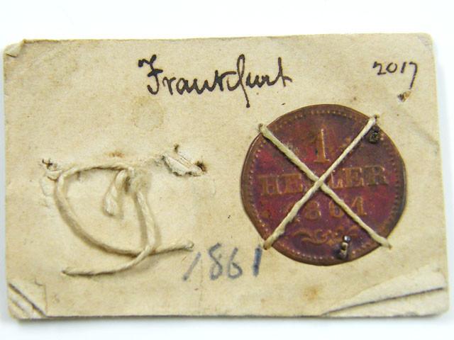 MUSEUM ARCHIVAL FRANKFURT  1 HELLER DATED 1861  CO 613