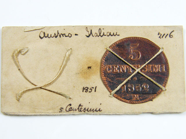 MUSEUM ARCHIVAL AUSTRIO-ITALIAN 5 CENTESIMO  1851 CO 621
