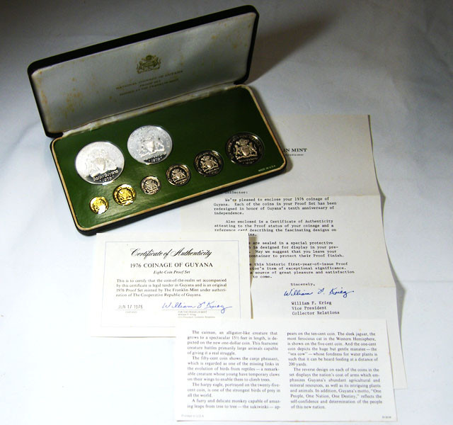 COLLECTORS 1976  PROOF GUYANA  EIGHT COIN SET CO 633