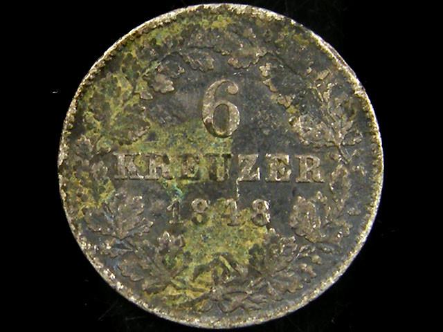 1848 BADEN 6 KRUEZER COIN CO 682