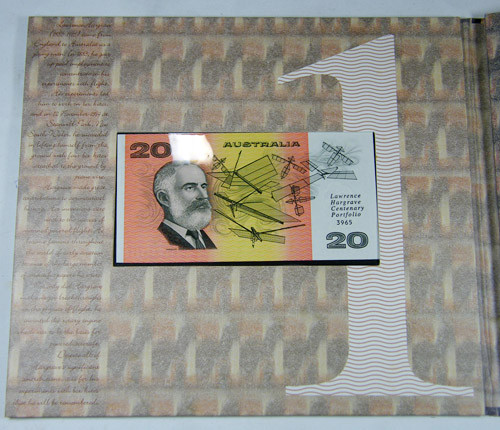 100th ANNIVERSARY OF HARGRAVES $20.00 NOTE AND  STAMPS CO696